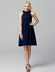 cheap -A-Line Jewel Neck Short / Mini Chiffon Bridesmaid Dress with Flower by LAN TING BRIDE®
