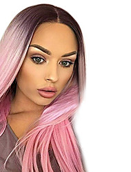cheap -Synthetic Wig Straight Middle Part Synthetic Hair Heat Resistant / Ombre Hair Gray Wig Women's Long Capless / Yes