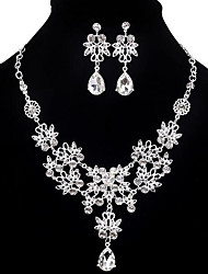 cheap -Women's Jewelry Set - Cubic Zirconia, Imitation Diamond Drop Party, Double-layer, Fashion Include Earrings / Bib necklace White For Party / Special Occasion / Anniversary / Necklace