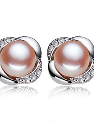 cheap -Women's Cubic Zirconia / Freshwater Pearl Solitaire Stud Earrings - S925 Sterling Silver, Freshwater Pearl Flower Natural, Sweet, Fashion White / Pink For Party / Daily