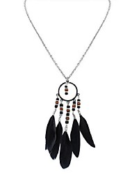 cheap -Women's Long Pendant Necklace - Feather Stylish, Vintage, Ethnic Rainbow, Blue, Light Green 70 cm Necklace Jewelry 1pc For Daily, Date