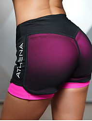 cheap -Women's With Inner Shorts Yoga Shorts - Green, Fuchsia Sports Sexy Mesh Bottoms Pilates, Exercise & Fitness, Running Activewear Lightweight, Quick Dry, Breathable Stretchy