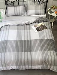 baratos -Conjunto de Capa de Edredão Stripes / Ripples 100% algodão Estampado 4 PeçasBedding Sets / 250 / 4peças (1 edredão, 1 lençol, 2 coberturas)