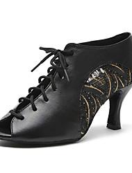 Недорогие -Жен. Обувь для латины Искусственная кожа Кроссовки В мелкую точку / Пайетки Толстая каблук Персонализируемая Танцевальная обувь Золотой / Черный