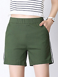 cheap -Women's Cotton Shorts Pants - Solid Colored / Striped