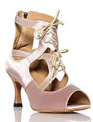 baratos -Mulheres Sapatos de Dança Latina Cetim Têni Cadarço de Borracha Salto Alto Magro Sapatos de Dança Preto / Nú
