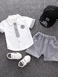 abordables -bébé Garçon Couleur Pleine Manches Courtes Ensemble de Vêtements