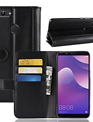 abordables -Funda Para Huawei Y9 (2018)(Enjoy 8 Plus) / Y7 Prime (2018) Cartera / Soporte de Coche / con Soporte Funda de Cuerpo Entero Un Color Dura piel genuina para Y9 (2018)(Enjoy 8 Plus) / Huawei Y7