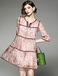 cheap -YHSP Women's Basic A Line Dress Lace up / Print