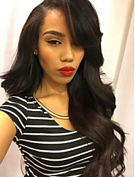 cheap -Remy Human Hair Full Lace Wig Brazilian Hair Wavy Wig Layered Haircut 130% Natural Hairline / 100% Hand Tied / With Bangs Black Women's Short / Long / Mid Length Human Hair Lace Wig
