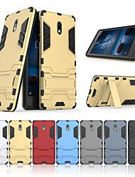 Недорогие -Кейс для Назначение Nokia Nokia 3 со стендом Кейс на заднюю панель Однотонный Твердый ПК для Nokia 3