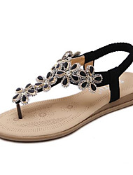 Недорогие -Жен. Обувь Полиуретан Весна лето Удобная обувь Сандалии На плоской подошве Черный / Миндальный