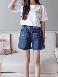 preiswerte -Damen Aktiv Jeans Hose Solide Blau & Weiß