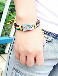 cheap -Men's Braided Handmade Link Bracelet - Leather Fish Trendy, Casual / Sporty, Fashion Bracelet Rainbow / Brown For Daily / Going out