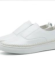 abordables -Femme Chaussures Cuir Nappa Printemps / Automne Confort Mocassins et Chaussons+D6148 Talon Plat Bout rond Blanc / Argent / Rose