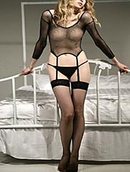 Недорогие -Жен. Белье с поясом для чулок / Пояс для чулок / подвязки Ночное белье - Сетка, Однотонный