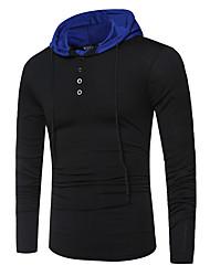 billige -Herre - Ensfarvet Patchwork Basale / Gade T-shirt