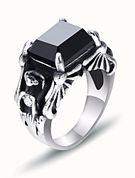 cheap -Men's Black Gemstone Stylish / Solitaire Ring - Titanium Steel Precious Stylish, European, Hip-Hop 7 / 8 / 9 Black For Gift / Street