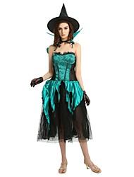Недорогие -ведьма Костюм Жен. Взрослые Хэллоуин Хэллоуин Карнавал Маскарад Фестиваль / праздник Полиэстер Инвентарь Темно-зеленый Однотонный Halloween