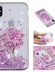 abordables -Coque Pour Apple iPhone X / iPhone 8 Plus Liquide / Motif / Brillant Coque Arbre / Brillant Flexible TPU pour iPhone X / iPhone 8 Plus / iPhone 8