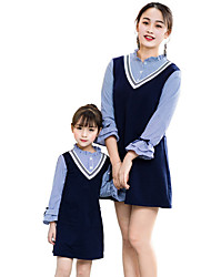 cheap -Mommy and Me Basic Striped Long Sleeve Dress