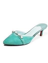 Недорогие -Жен. Обувь Свиная кожа Лето Удобная обувь Башмаки и босоножки На шпильке Красный / Светло-синий