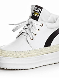cheap -Women's Shoes Nappa Leather Spring Comfort Sneakers Low Heel Round Toe White / Gray / Silver