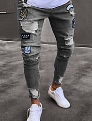 economico -Per uomo Cotone Jeans Pantaloni - Fantasia geometrica