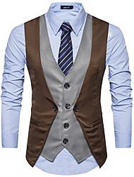 Недорогие -мужской выход работа жилет цвет цвет печать рубашка воротник