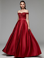 cheap -A-Line Off Shoulder Floor Length Lace / Satin Prom / Formal Evening Dress with Beading / Appliques by TS Couture®