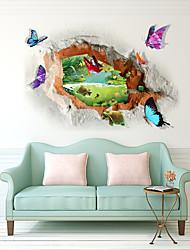 abordables -Autocollants muraux décoratifs - Autocollants muraux 3D Paysage / 3D Salle de séjour / Chambre à coucher / Salle de bain