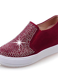 cheap -Women's Shoes Suede Spring / Summer Moccasin Loafers & Slip-Ons Wedge Heel Round Toe Rhinestone Black / Beige / Red