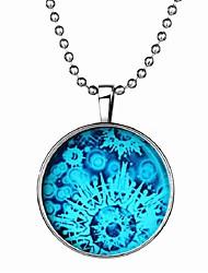 baratos -Mulheres Pedra Luminosa Longas Colares com Pendentes - Resina Floco de Neve Fashion Azul 60 cm Colar 1pç Para Halloween, Bandagem