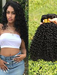 Недорогие -Малазийские волосы Kinky Curly Подарки / Человека ткет Волосы / Сувениры для чаепития 3 Связки 8-28 дюймовый Ткет человеческих волос Гладкие / Толстые / Для темнокожих женщин Черный