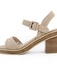 abordables -Mujer Zapatos Piel de Oveja Verano Confort Sandalias Tacón Cuadrado Puntera abierta Hebilla Negro / Almendra