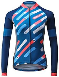 abordables -Mysenlan Femme Manches Longues Maillot de Cyclisme - Bleu Rayure Cyclisme Maillot Hauts / Top, Respirable Séchage rapide Polyester / Expert / Encre importée d'Italie / Dessous de Bras Respirants