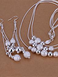 baratos -Mulheres Camadas Conjunto de jóias - Prata Chapeada Pêra Estiloso Incluir Brincos Compridos / Colares com Pendentes Prata Para Diário