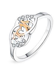 baratos -Mulheres Cristal Clássico Anel de declaração - Prata Chapeada Estiloso 6 / 7 / 8 Prata Para Diário