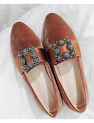 baratos -Mulheres Sapatos Camurça / Pele Napa Primavera Conforto Mocassins e Slip-Ons Salto Baixo Preto / Azul Escuro / Castanho Claro
