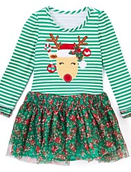 abordables -Enfants Fille Rétro / Doux Noël / Vacances / Sortie Rayé Effets superposés Manches Longues Mi-long Coton / Acrylique Robe Vert Claire