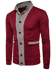 cheap -Men's Long Sleeve Cardigan - Color Block Stand