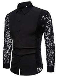 Недорогие -Муж. Кружева / С отверстиями / Пэчворк Рубашка Классический Однотонный