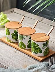 abordables -Organisation de cuisine Mixeurs & Shakers / Bidons de cuisine Bois / Céramique Rangement / Arbre / Adorable 7pcs