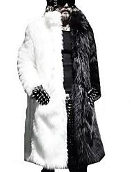 Недорогие -Муж. Офис / Вечеринка / коктейль Уличный стиль / Панк & Готика Зима Большие размеры Длинная Пальто с мехом, Однотонный Черное и белое Приподнятый круглый Длинный рукав Искусственный мех Пэчворк Белый
