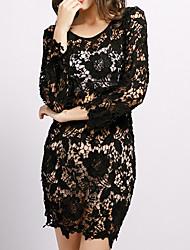 cheap -Women's Elegant Sheath Dress - Solid Colored Lace / Cut Out