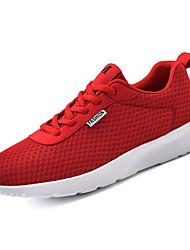 baratos -Homens sapatos Couro Ecológico / Tecido elástico Outono Conforto Tênis Caminhada Preto / Cinzento / Vermelho