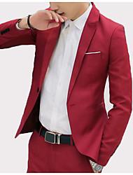 cheap -Men's Business Vintage Blazer-Solid Colored,Patchwork
