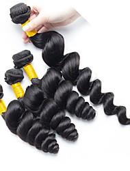 Недорогие -4 Связки Индийские волосы / Бирманские волосы Свободные волны Необработанные / Натуральные волосы Подарки / Косплей Костюмы / Человека ткет Волосы 8-28 дюймовый Естественный цвет