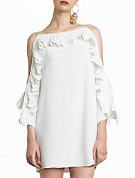 abordables -Femme Rétro Manche Gigot Courte Robe - Plissé, Couleur Pleine / Géométrique Mi-long Noir & Blanc