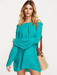 cheap -Women's Plus Size Chiffon Dress - Solid Colored White Mini Boat Neck / Summer